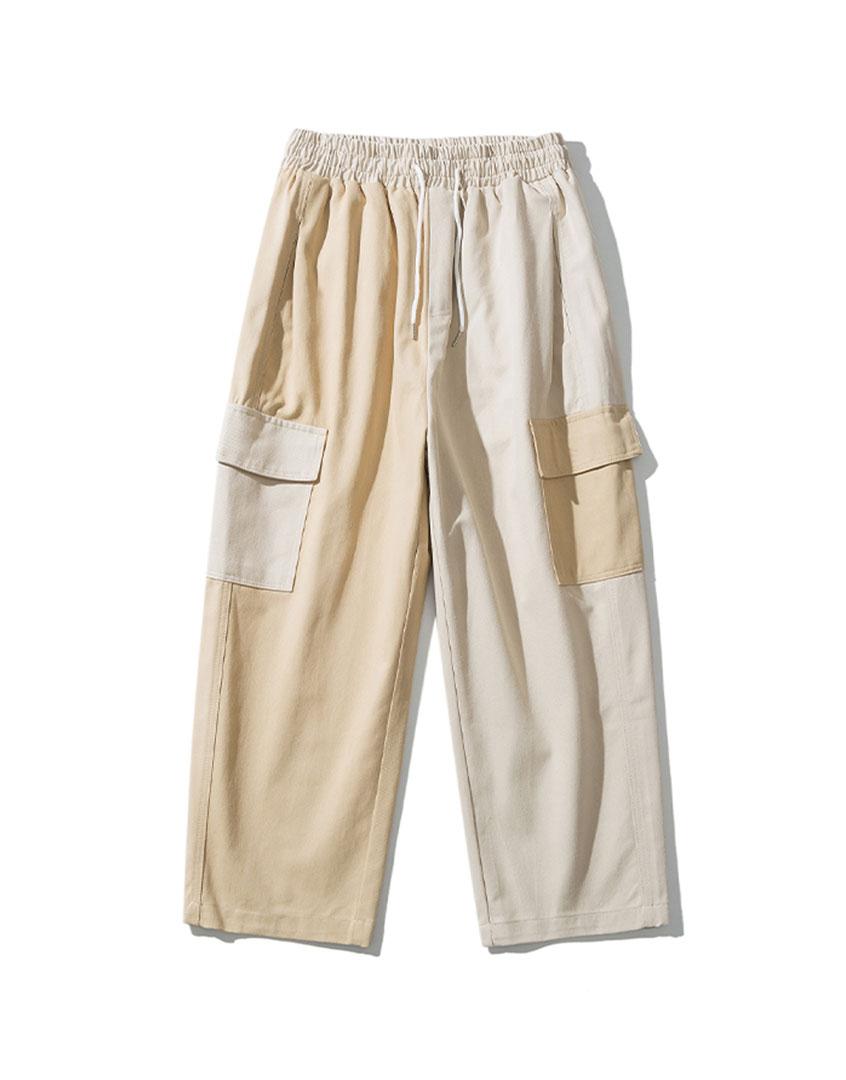 寬版拚色休閒長褲