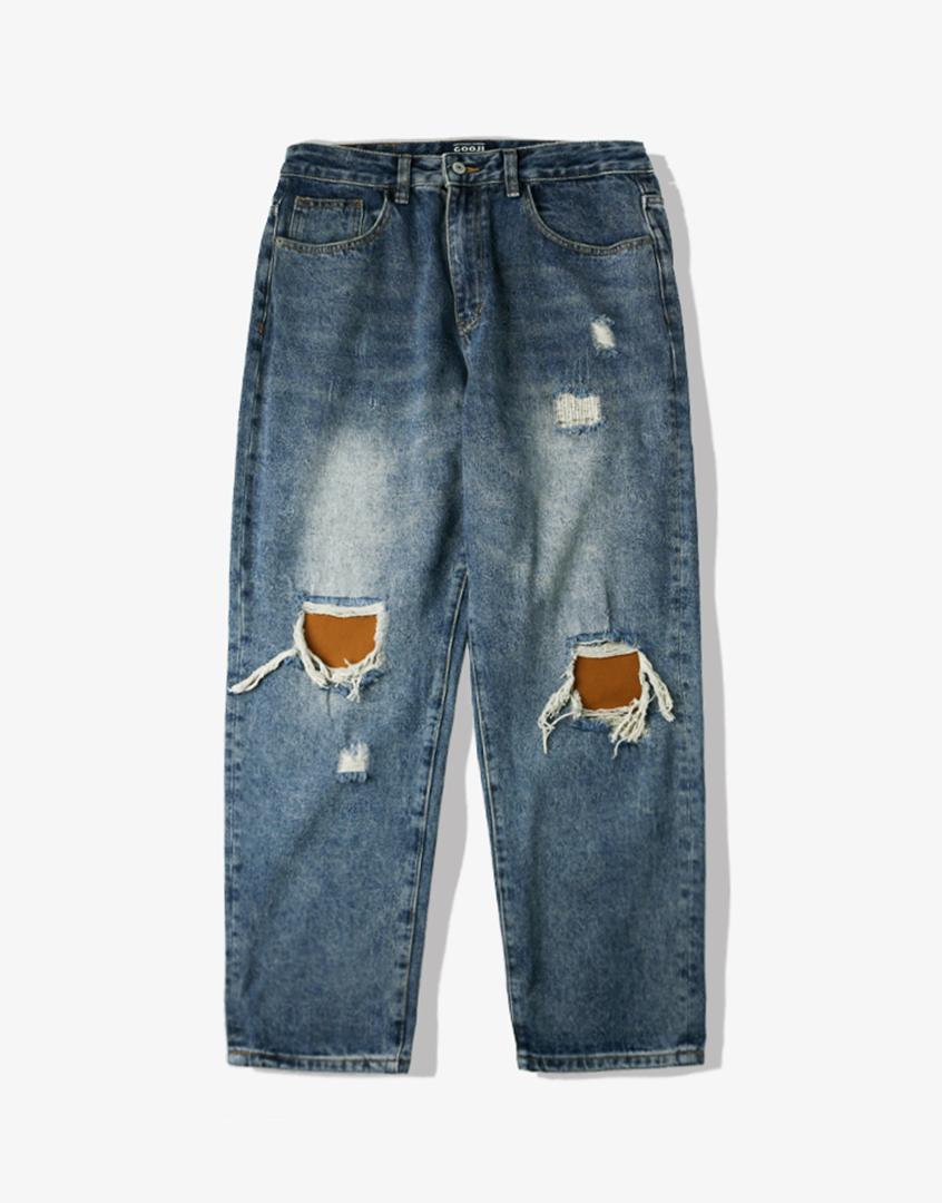 重磅撞色補丁水洗牛仔長褲