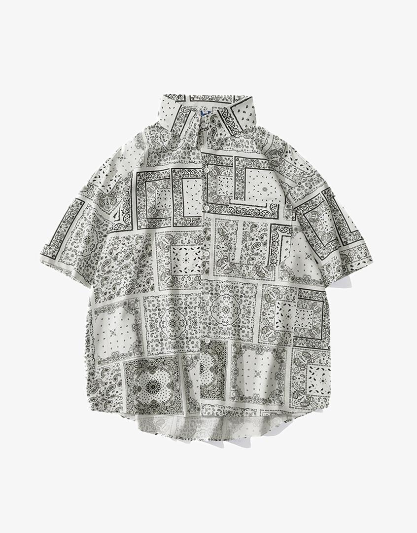 變形蟲短袖花襯衫