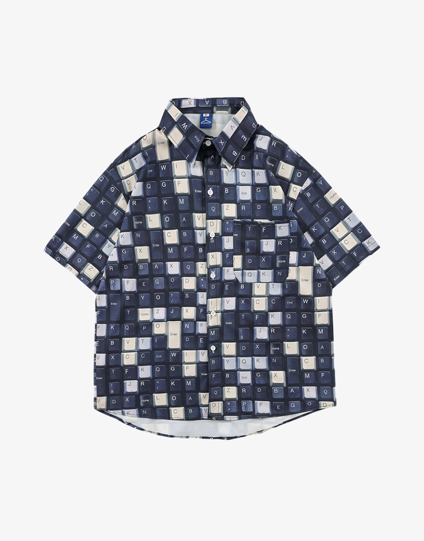 滿版鍵盤短袖襯衫