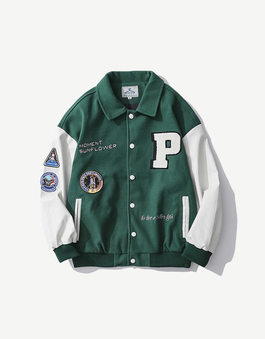 太空貼布繡毛呢棒球外套