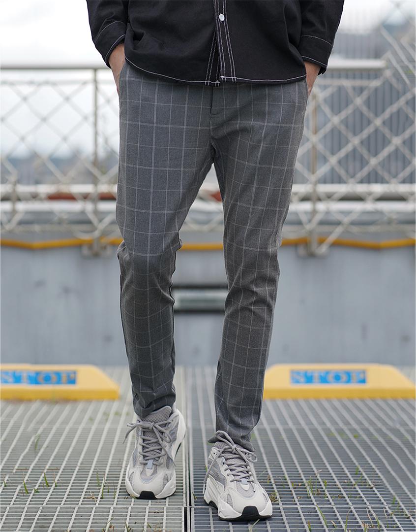 超彈力重磅格紋長褲