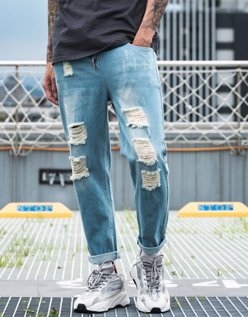 淺破壞九分牛仔長褲