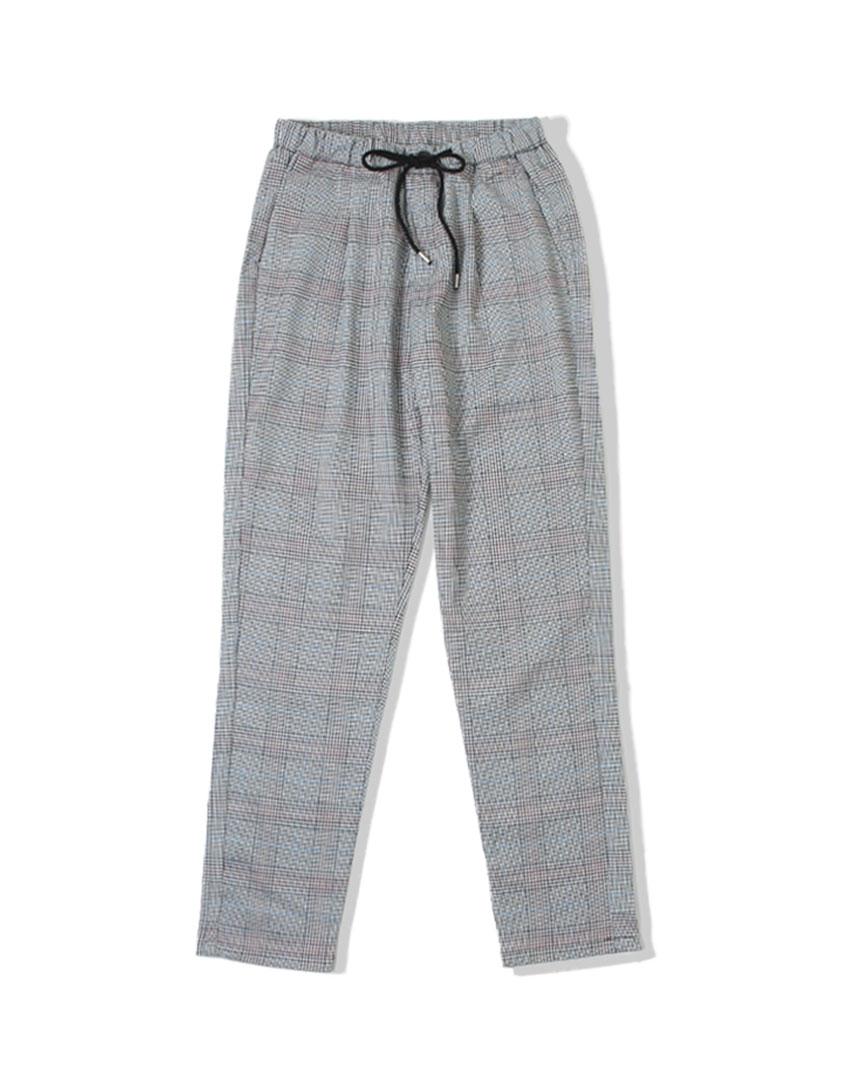 日系抽繩格紋長褲