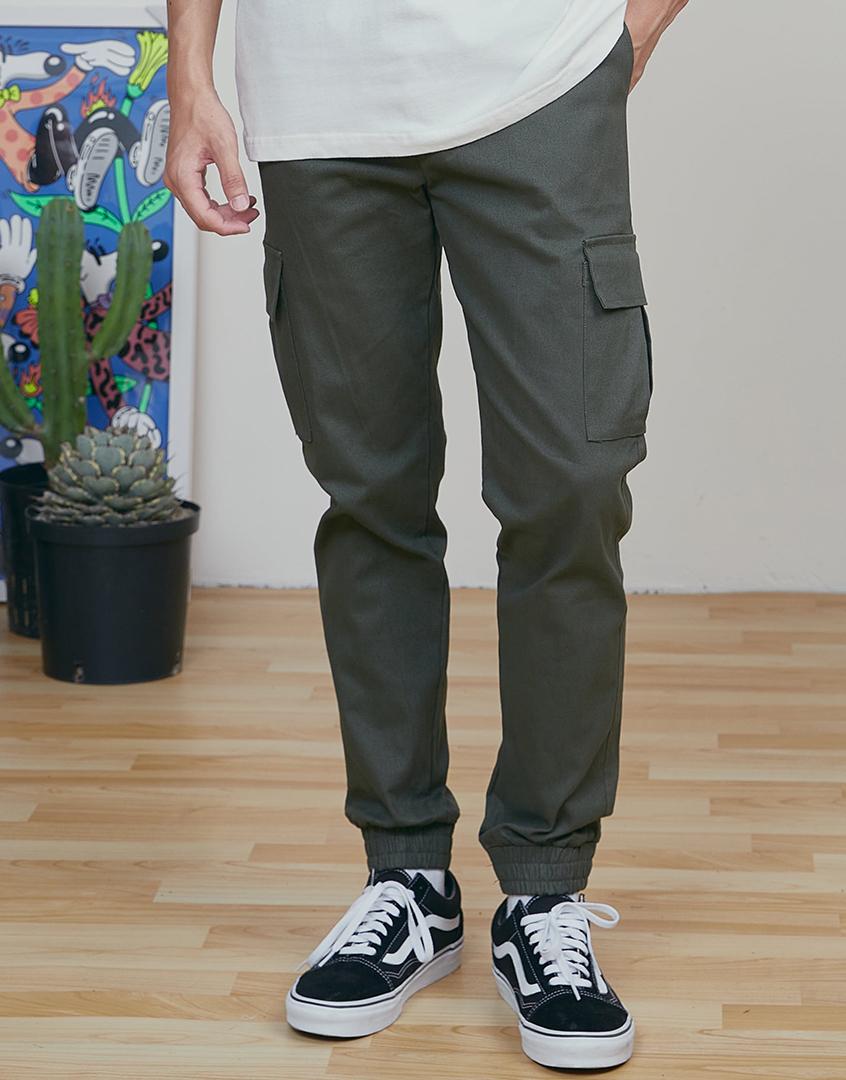 側口袋彈性縮口褲