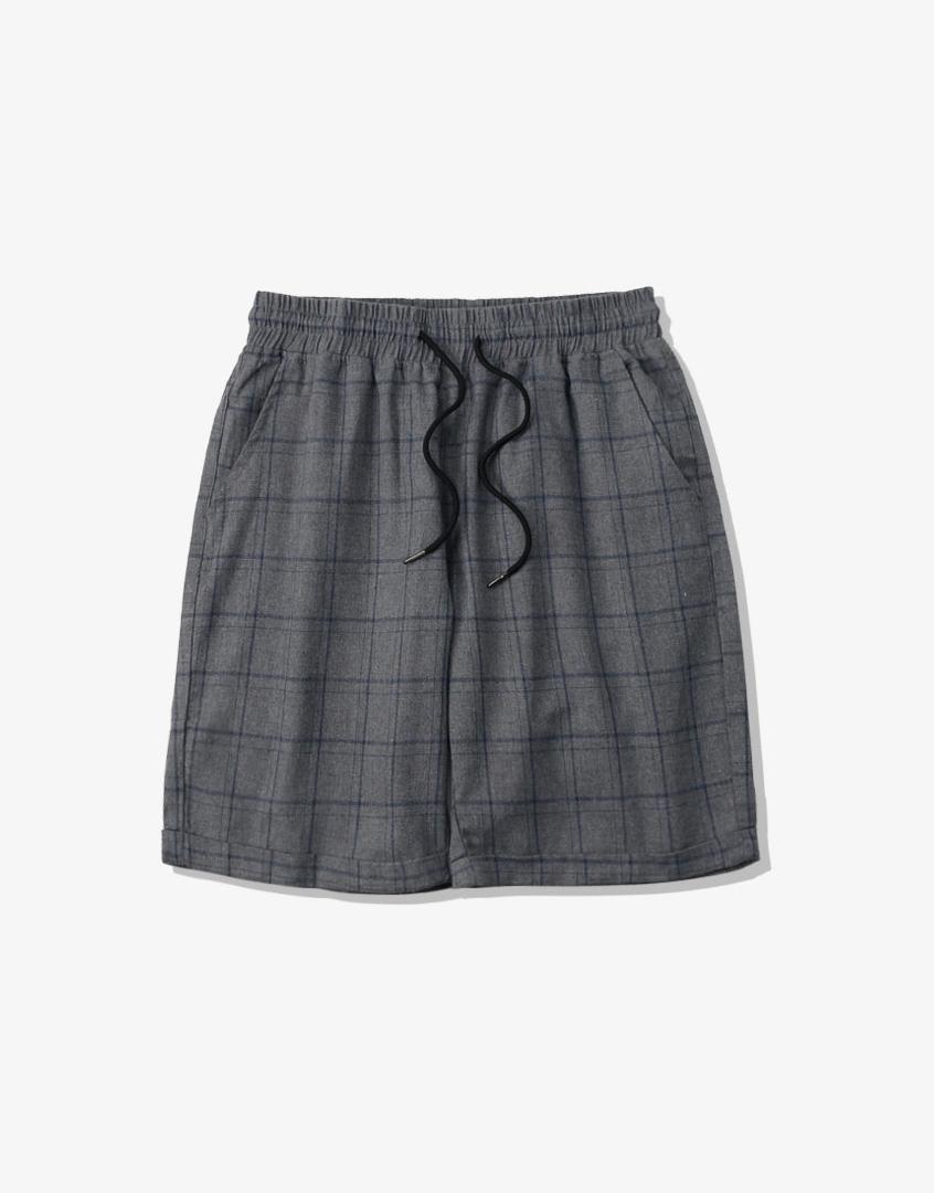棉麻抽繩格紋短褲