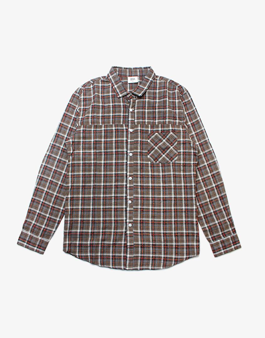 泡泡布格紋長袖襯衫