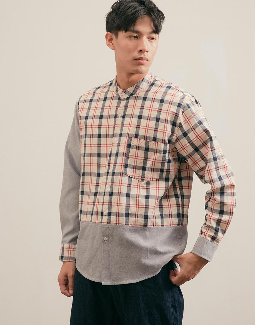 亨利領拼接格紋長袖襯衫