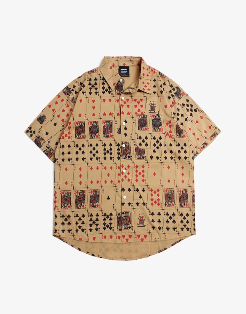 撲克牌短袖花襯衫