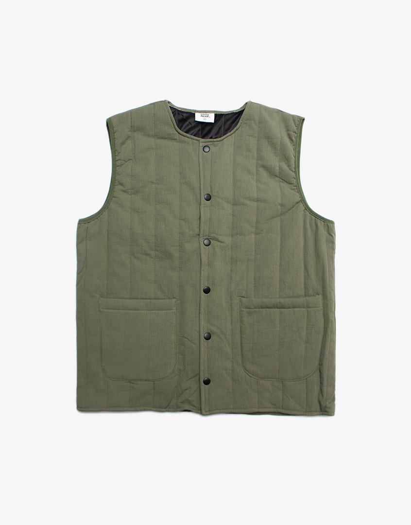 直條紋鋪棉背心外套