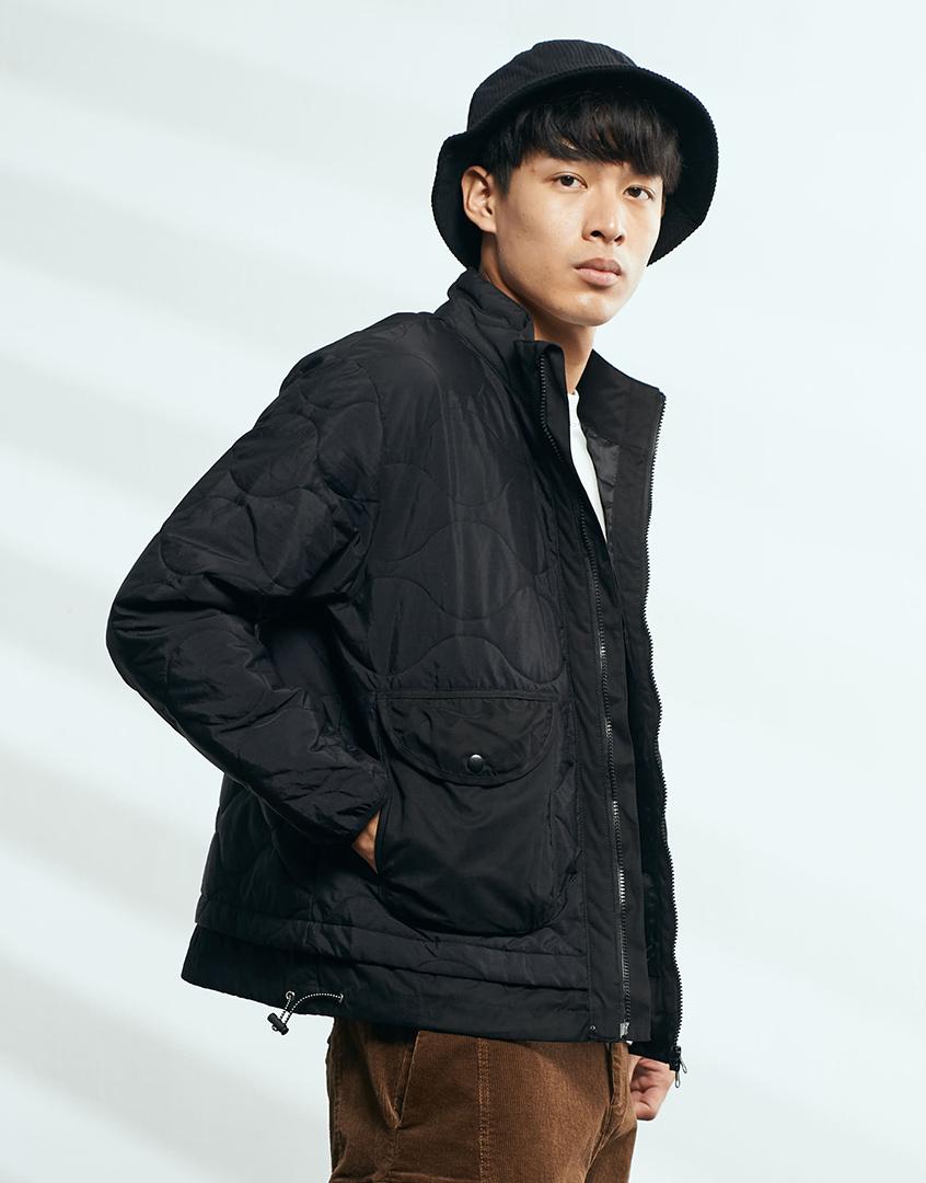 衍縫菱格麂皮口袋鋪棉外套