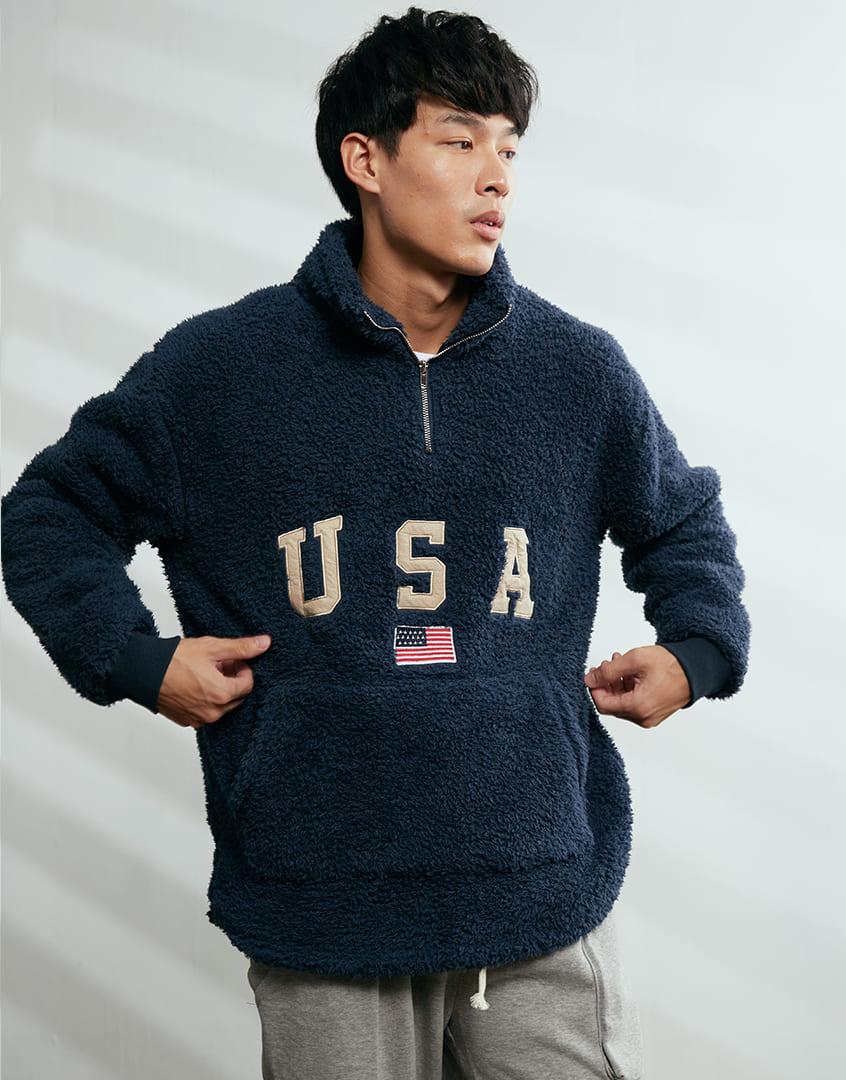 USA貼布絨毛長袖上衣
