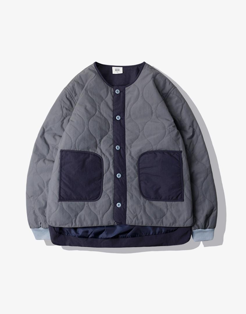 防水拼色衍縫菱格鋪棉外套