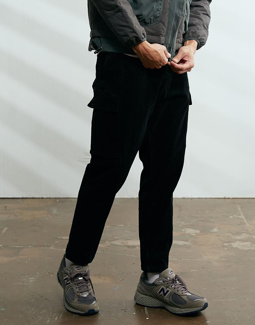 燈芯絨工裝口袋長褲