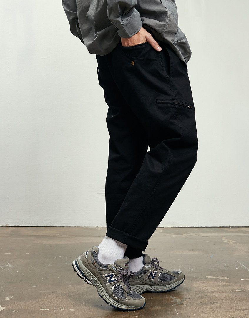 多口袋插釦錐形工作長褲