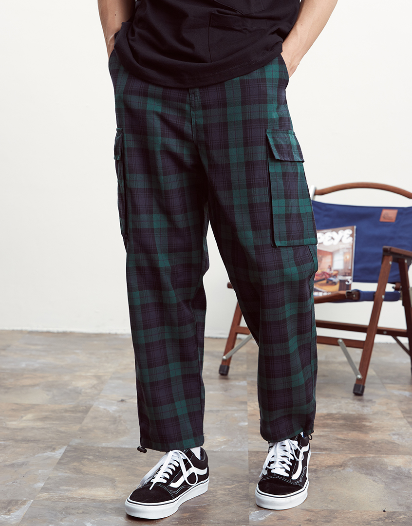 日系綠格紋休閒長褲