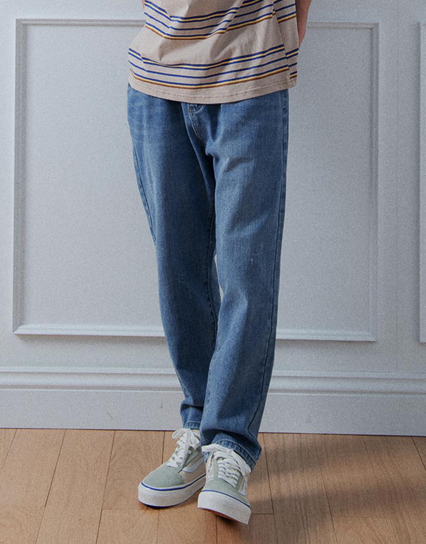 重磅簡約刷色牛仔長褲