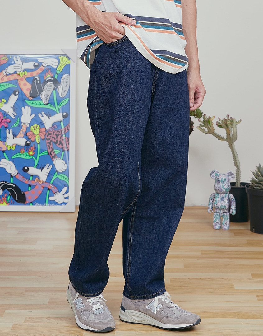 重磅原色單寧錐形牛仔長褲