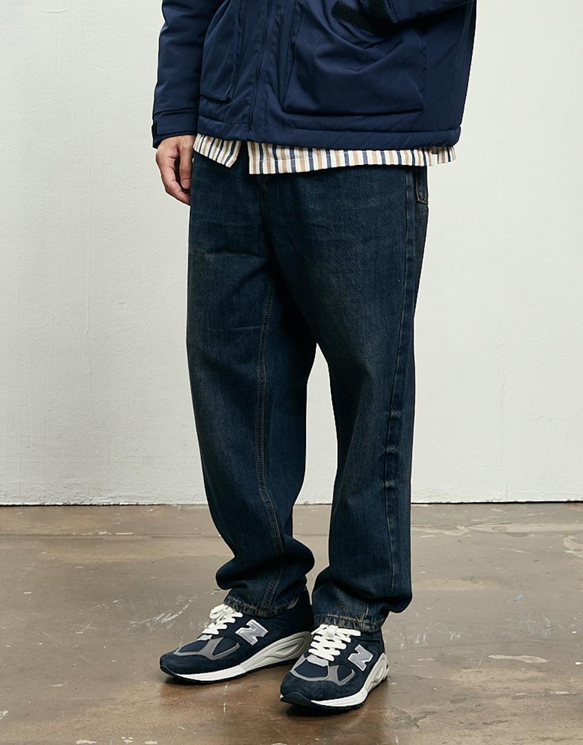 復古鐵鏽刷色錐形牛仔長褲
